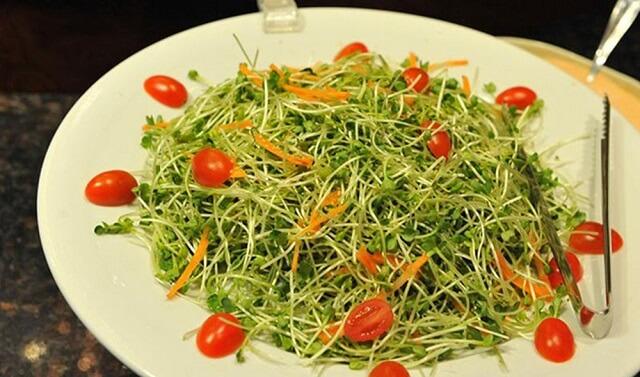 Salad rau mầm và cà chua